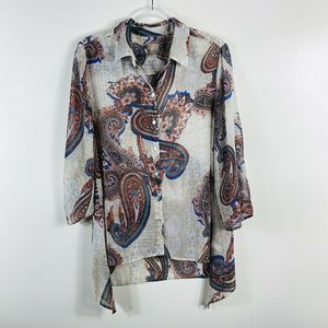 Chico's Floral Paisley Button Top 3/4 Sleeve Sheer